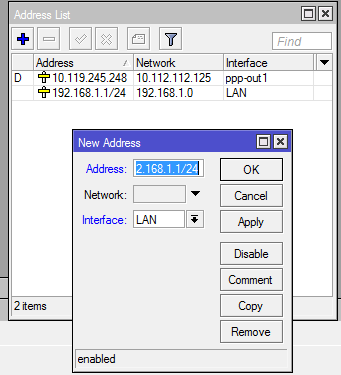 Konfiguracja interfejsu Bridge dla sieci lokalnej