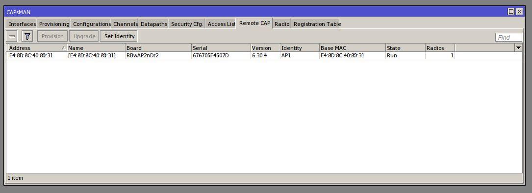 Winbox# CAPSMAN/Remote CAP