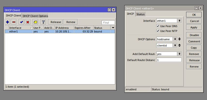Winbox# IP/DHCP Client