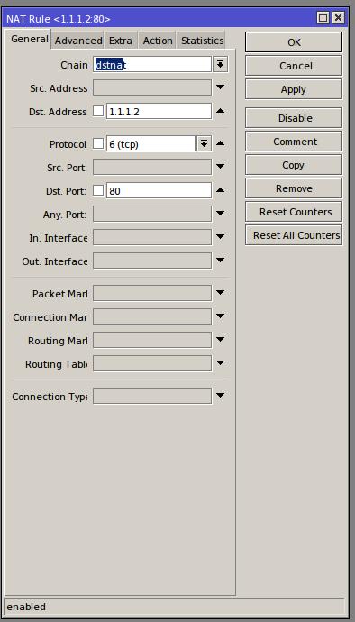 Winbox# IP/Firewall/NAT/Add