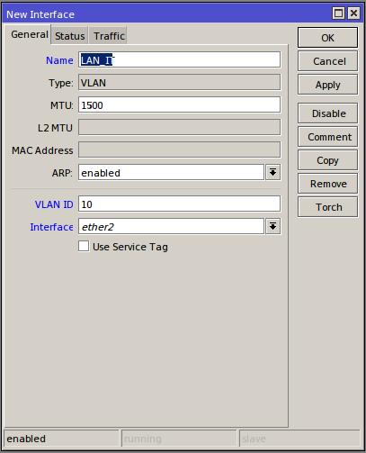 Winbox# Interfaces/Vlan/Add