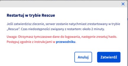 """okno """"restartuj w trybie rescue"""""""""""