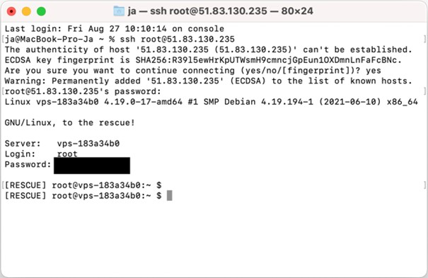 logowanie do maszyny ssh