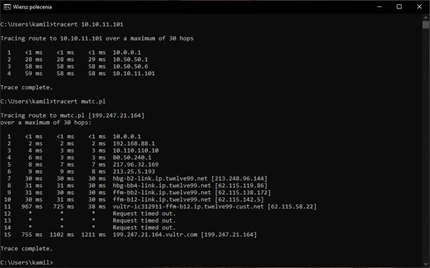 test komunikacji z urządzeniem w sieci 10.10.11.0/24